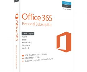 Microsoft Office 365 Personal Mac/Windows, No DVD Retail Box, 1 Year Suscription.